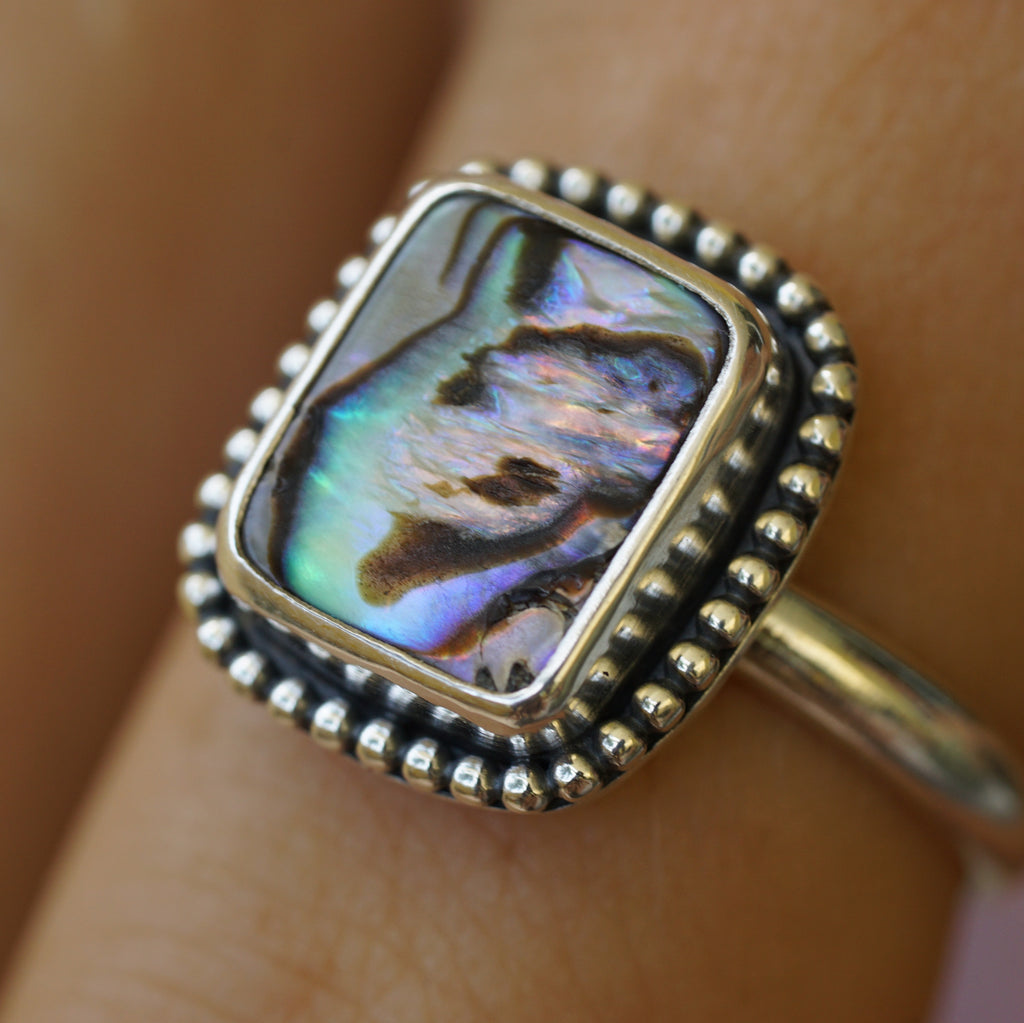 Rectangle Abalone Bead Ring