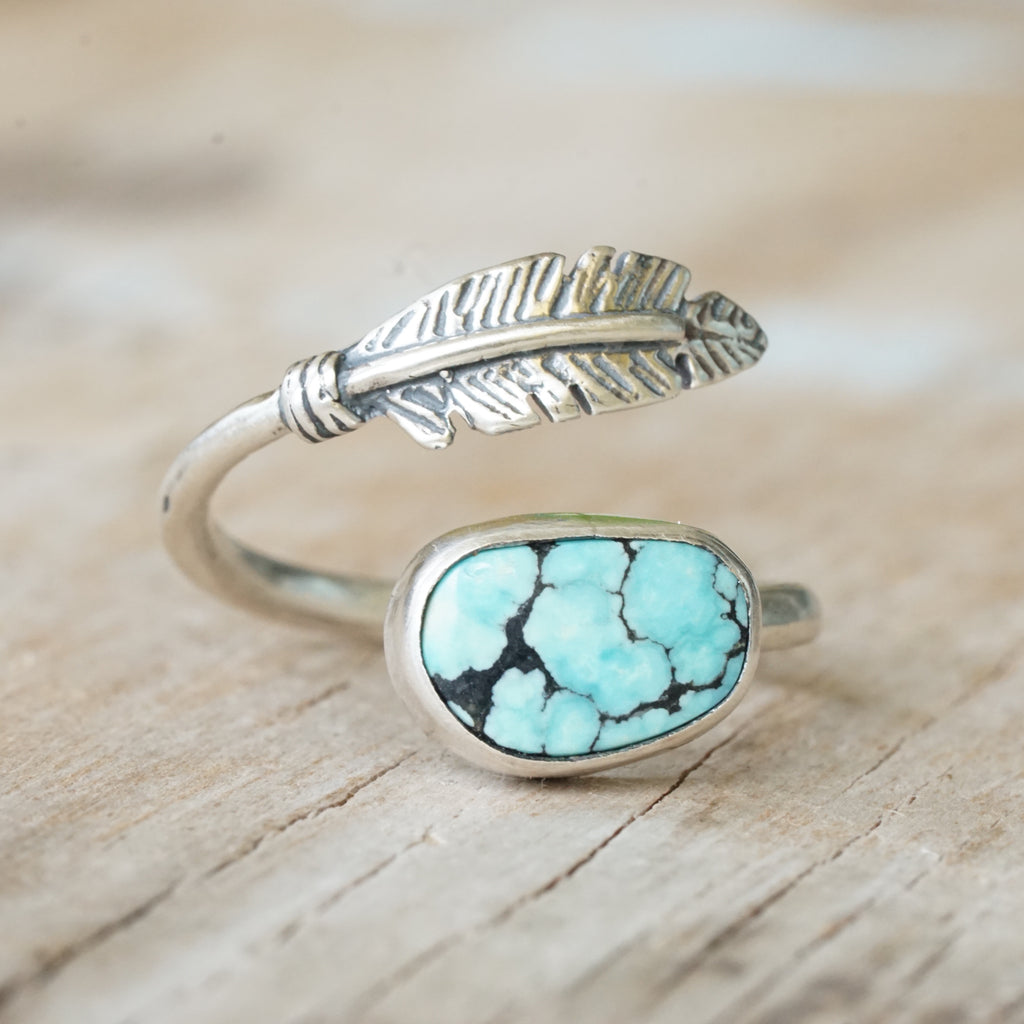 Turquoise & Feather Ring 6.5