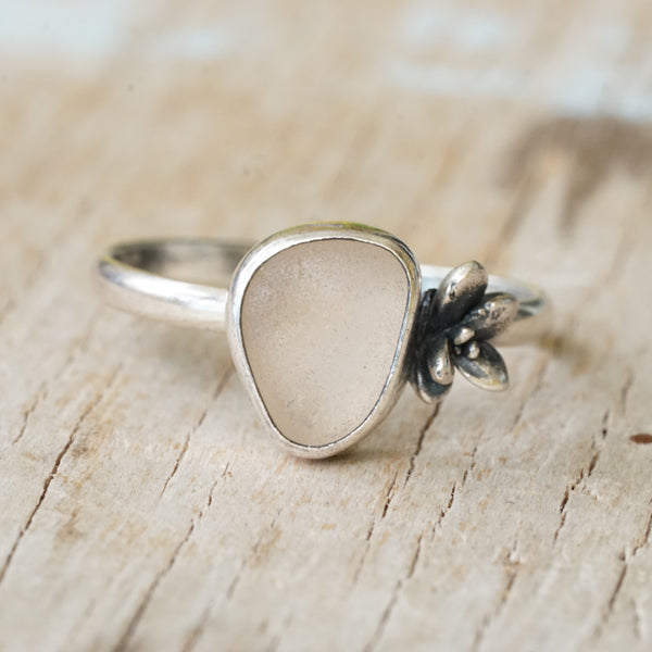 Pink Sea Glass and Succulent Ring 8.5