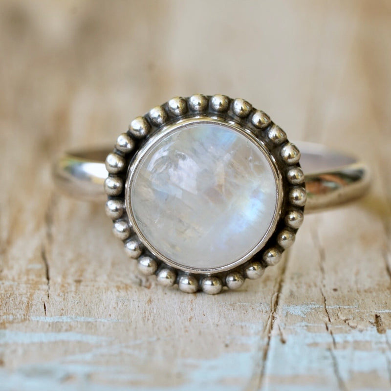 Moonstone Bead Ring Round
