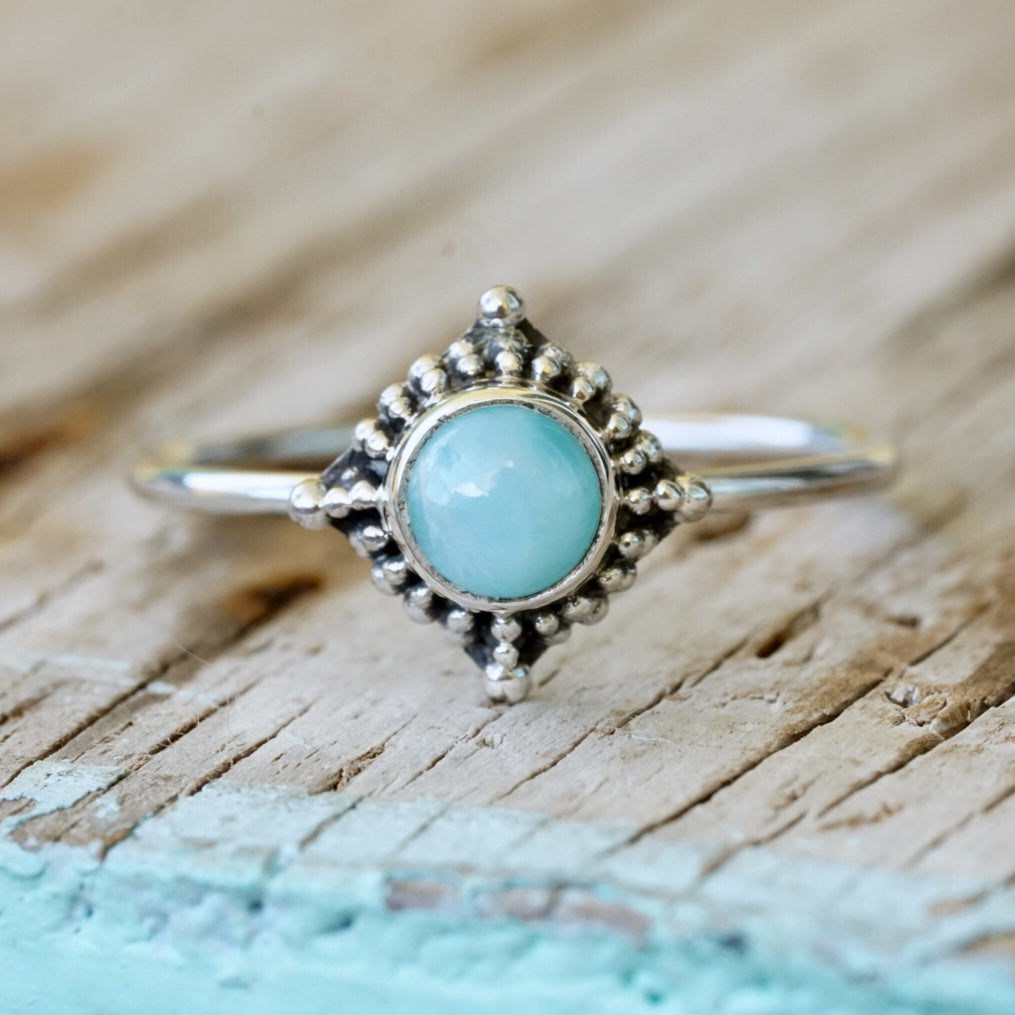 Larimar Galaxy Bead Stack Ring
