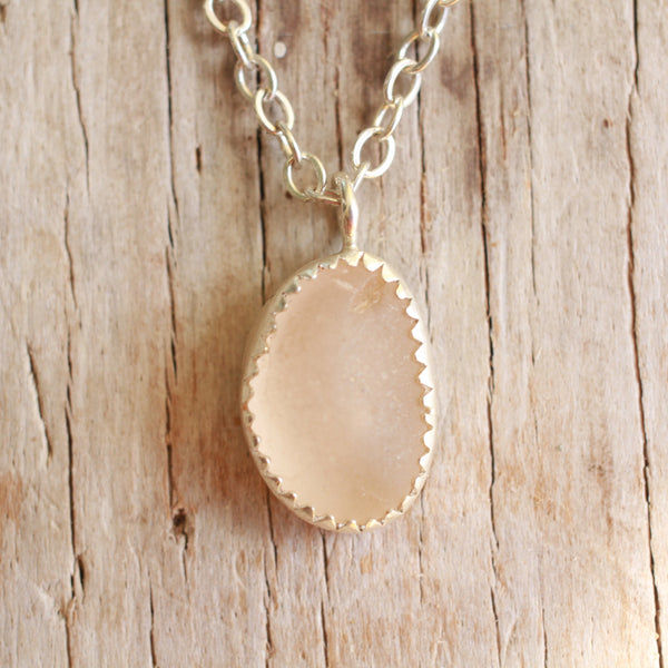 Pink Sea Glass Necklace 20""