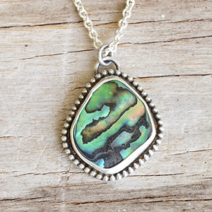 Abalone and bead necklace 19""