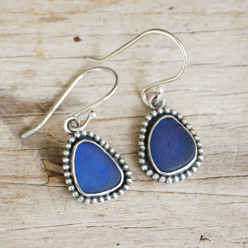Cobalt Blue Sea Glass and Bead Dangle Earrings