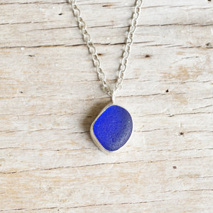 Cobalt blue sea glass necklace