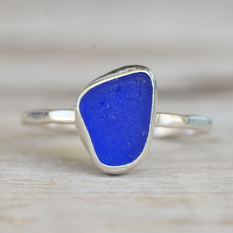 Cobalt sea glass ring