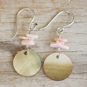 Coral and shell dangle earrings