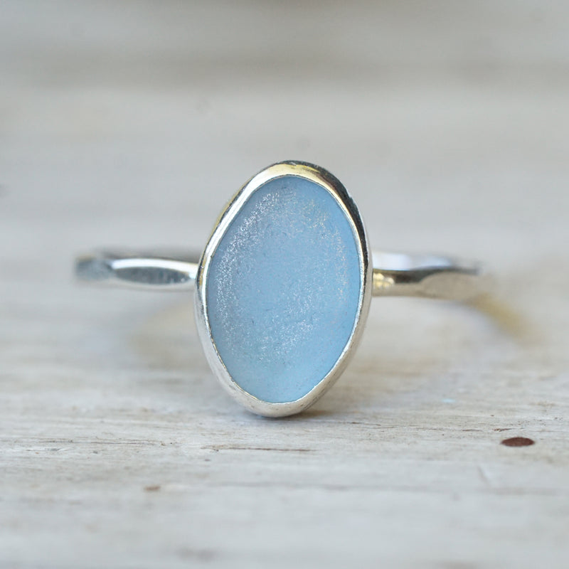 Cornflower Blue Sea Glass Ring 7
