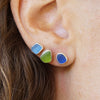 Cobalt Blue Sea Glass Stud Earrings