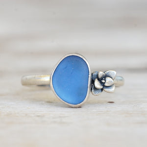 Cornflower Blue Sea Glass and Succulent Ring 9