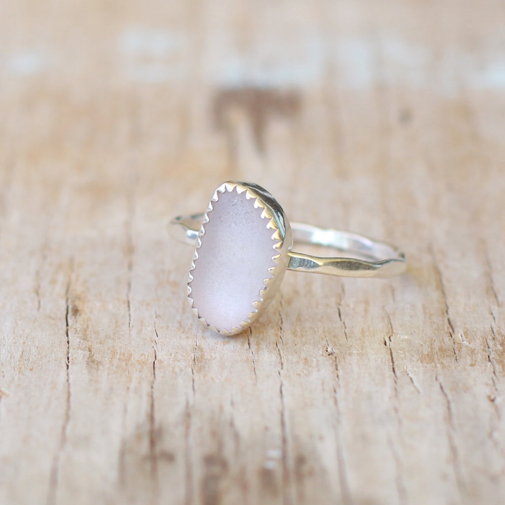 Lilac Sea Glass Ring 7.5