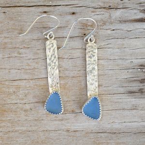 Cornflower sea glass bar dangle earrings