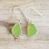 Green Sea Glass Dangle Earrings