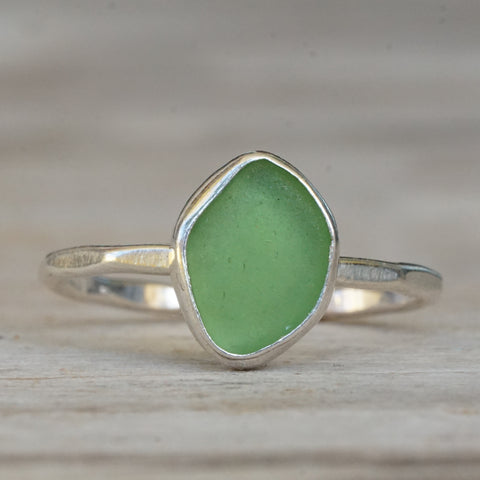 Green Sea Glass with Bead Ring 5.5