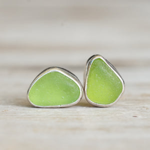 Green sea glass stud earrings