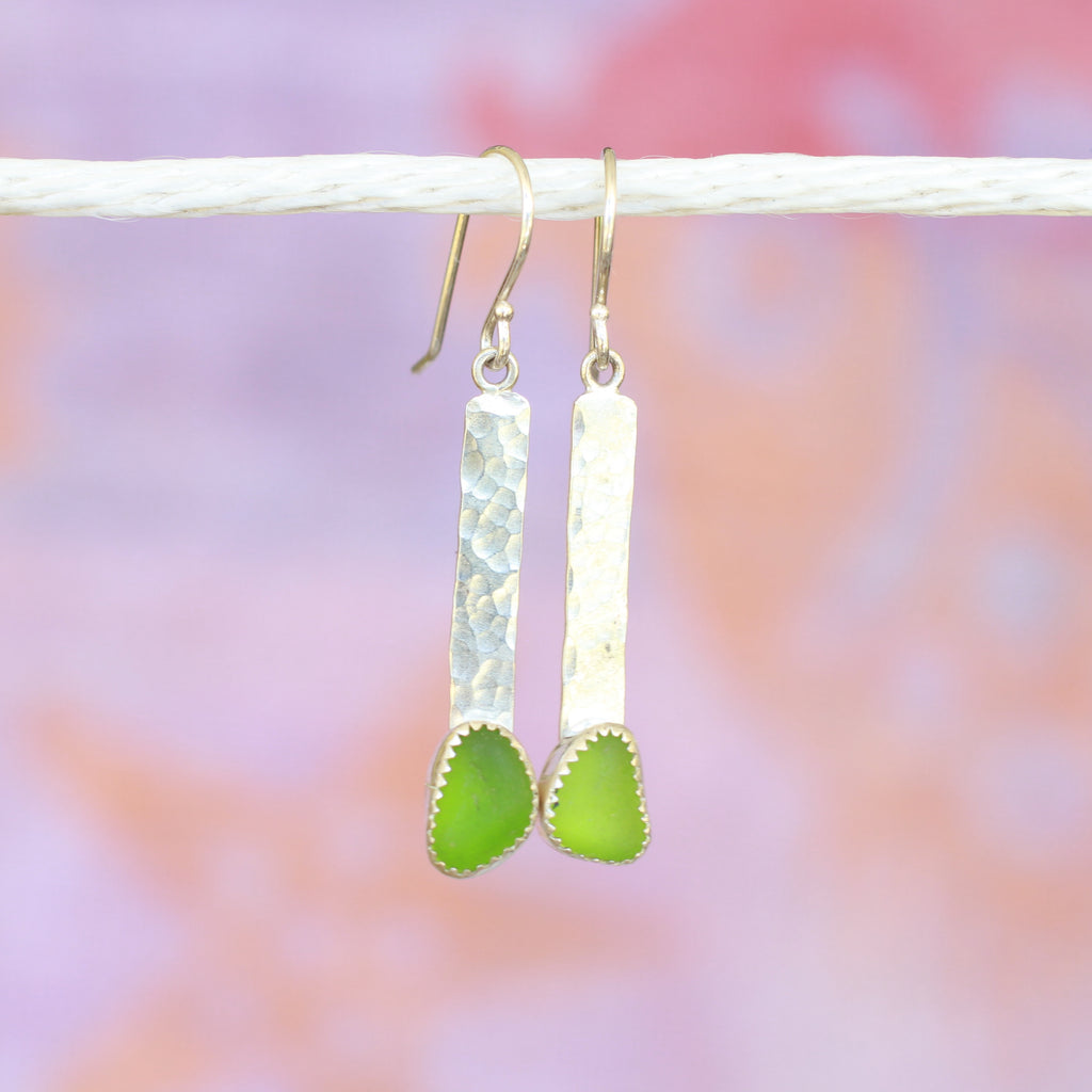 Green Sea Glass Bar Dangle Earrings