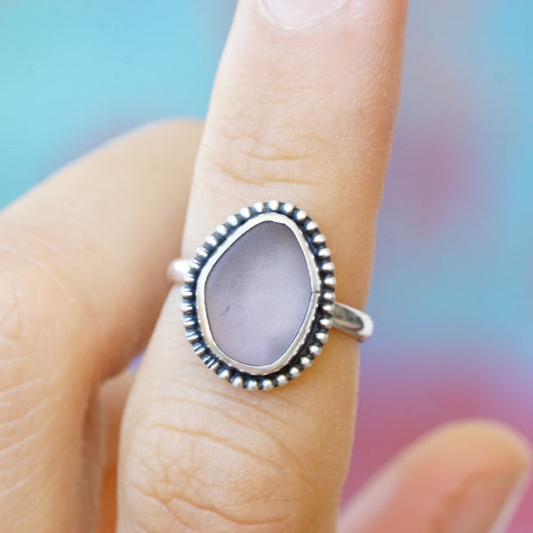 Lilac Sea Glass with Bead Ring 4.75