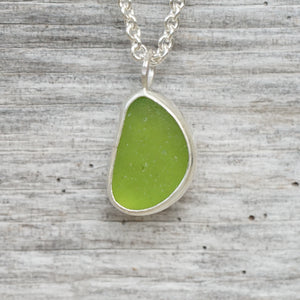 Lime sea glass necklace