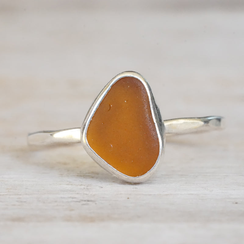 Amber Sea Glass Ring Sterling Silver 7