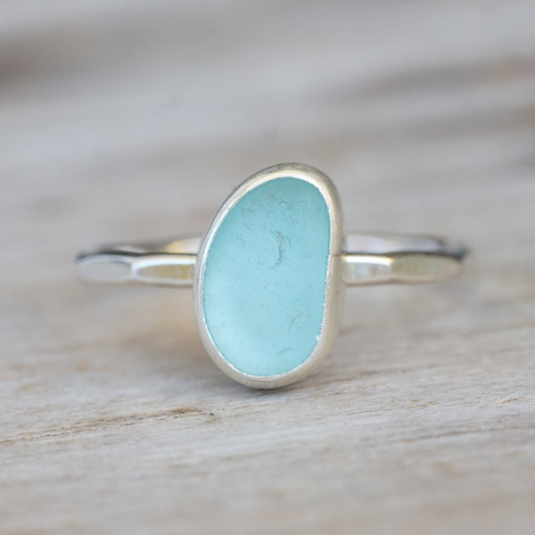 Seafoam Blue Sea Glass Ring 8