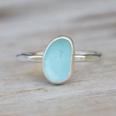 Seafoam blue sea glass ring