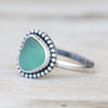 Teal green sea glass with bead ring 6.5