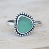 Seafoam blue sea glass with bead ring 4.75