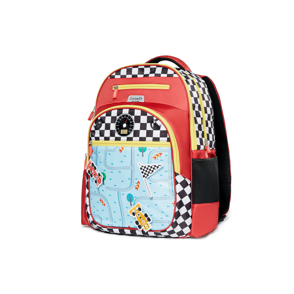 Racing Car Backpack- Scarlet/Black&White Square/Raceway