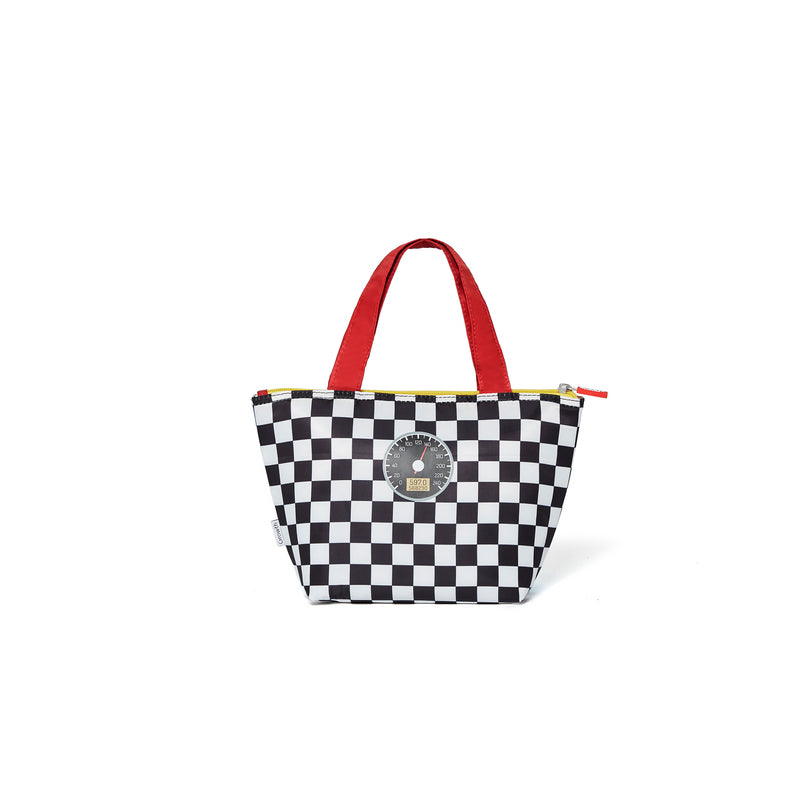 Racing Car Lunch Bag- Scarlet/Black&White Square/Raceway
