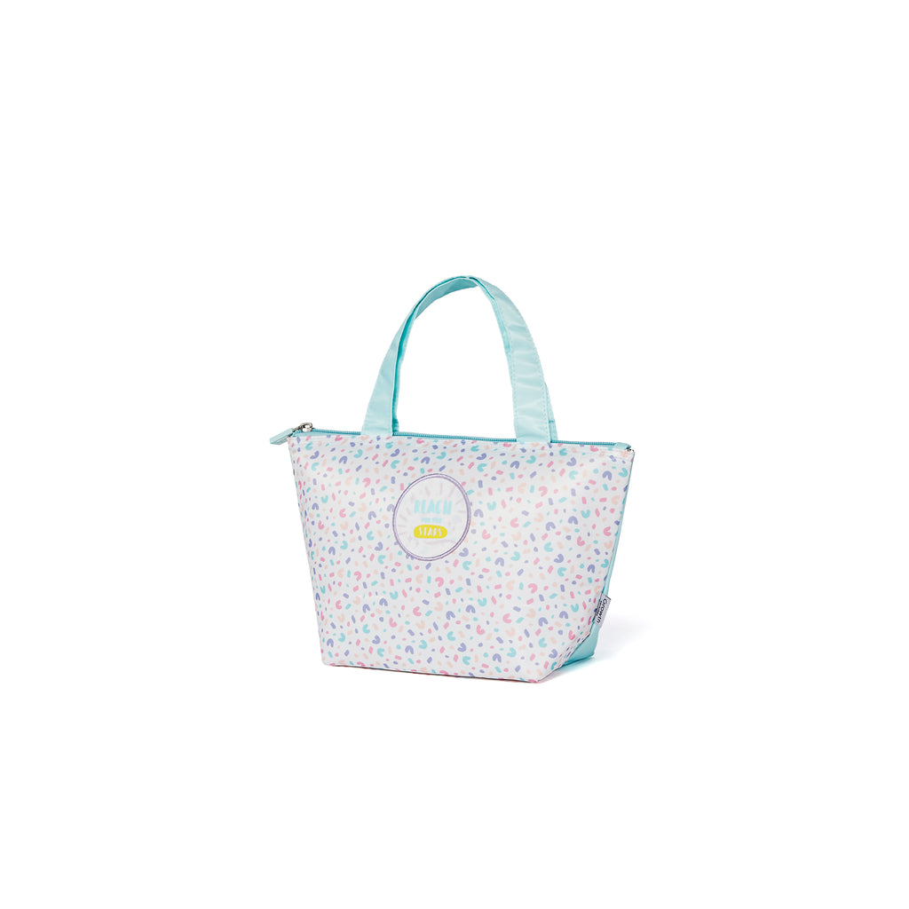 Fantasy Lunch Bag- Bleached Aqua/Pastel Leopard