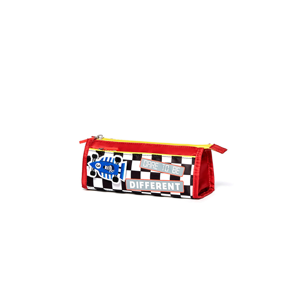 Racing Car Pencil Case- Scarlet/Black&White Square