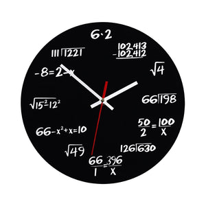 VORCOOL Creative Mathematics Blackboard Pop Quiz Clock Wall Clock Teacher Gift for Classroom Home Office (Black)