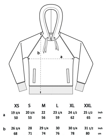 Earth Positive hoodie size chart