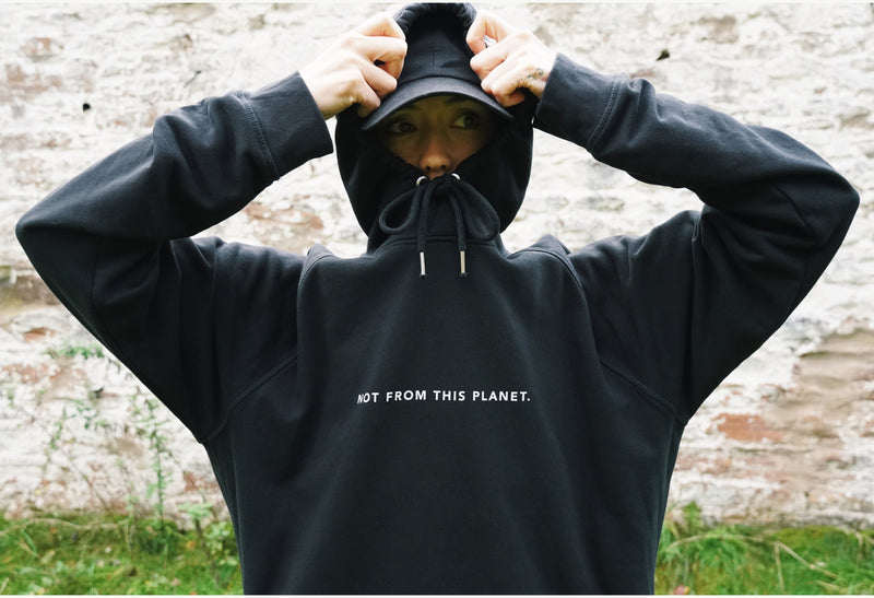 Not froFrom This Planet Organic Black Hoodie by Majo Medicine