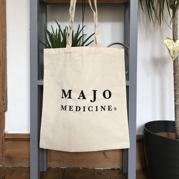 100% cotton organic tote bag. Majo Medicine logo in black on cream coloured bag