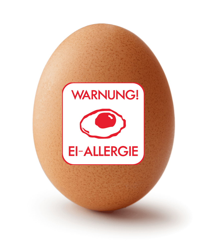 Egg with egg allergy sticker