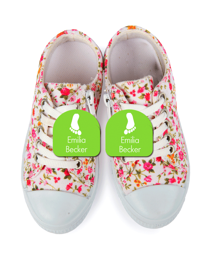 Flower pattern sneakers with shoe labels