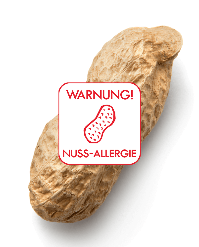 Peanut in shell with nut allergy sticker