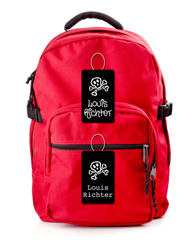 Red school backpack with bag tags