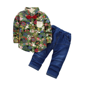 Autumn Boys Leaves Flower Print Shirt Single