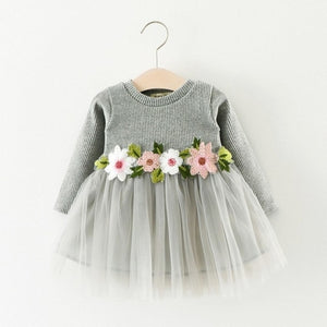 girls long-sleeved flower mesh gown dress