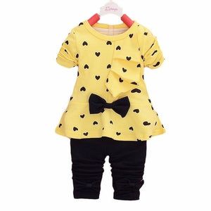 New Baby Sets Boys Clothes Heart-shaped Print Bow