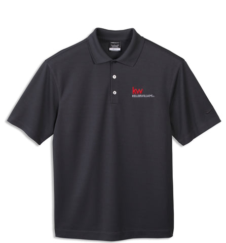 grey three-button polo with red and white Keller Williams logo