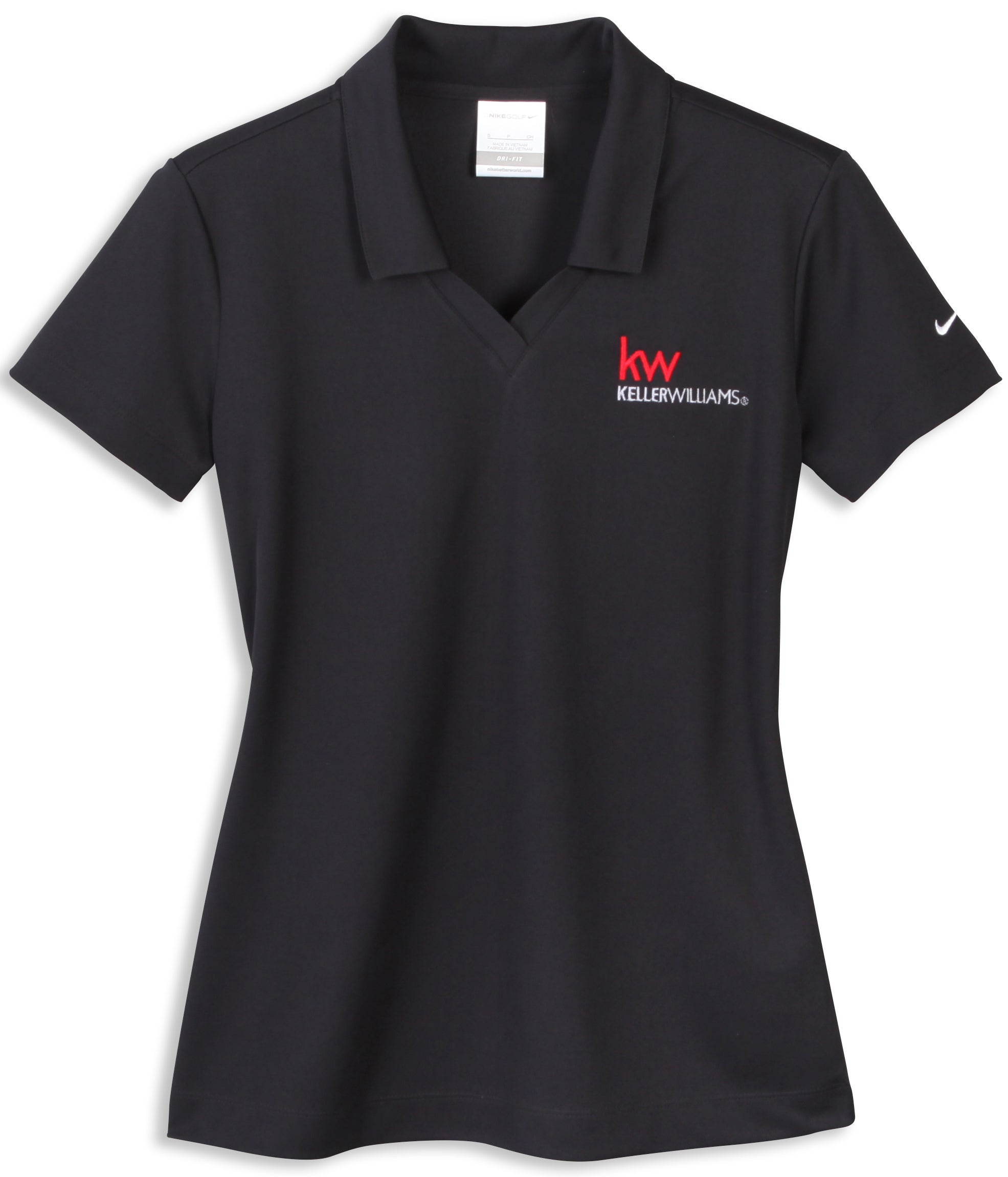 black nike polo with johnny collar and Keller Williams logo in embroidery