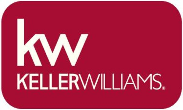 rectangular red label with rounded corners and white Keller Williams logo