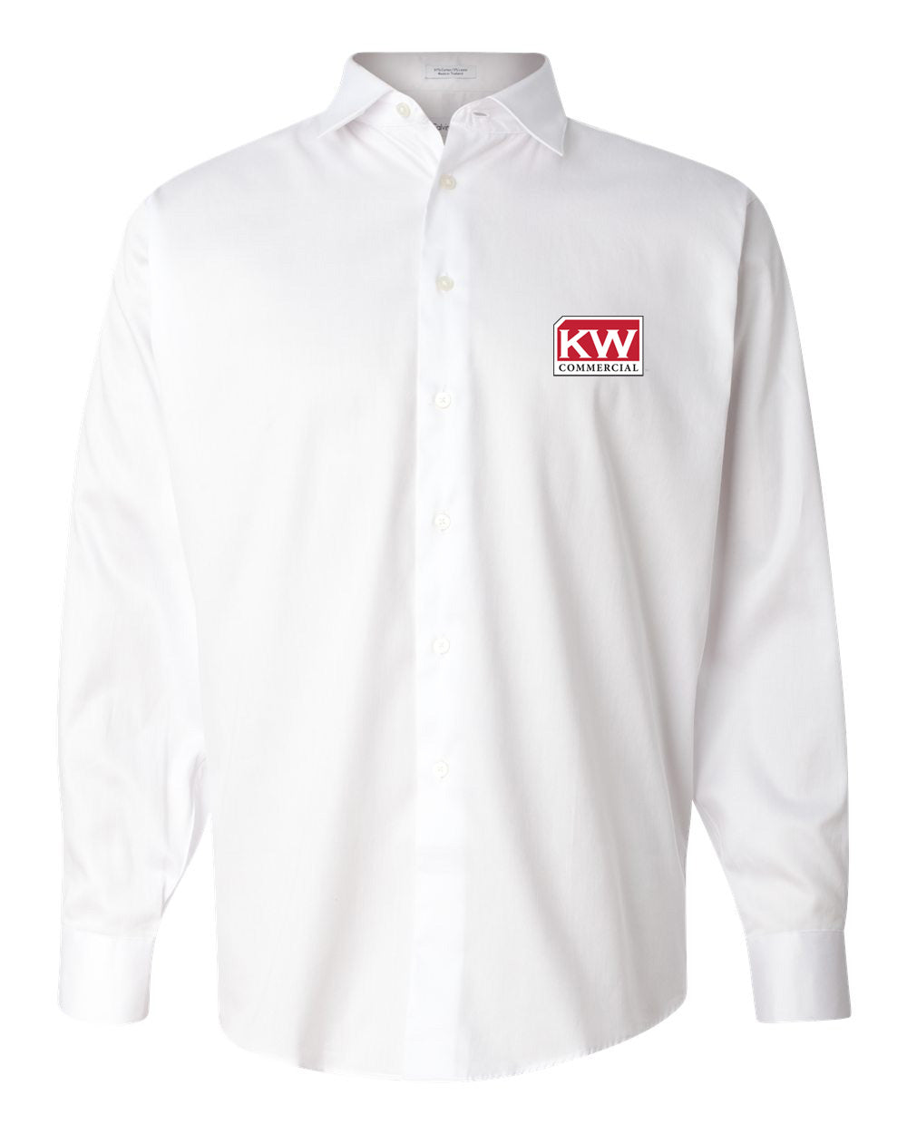 white long sleeve button down with Keller Williams commercial logo