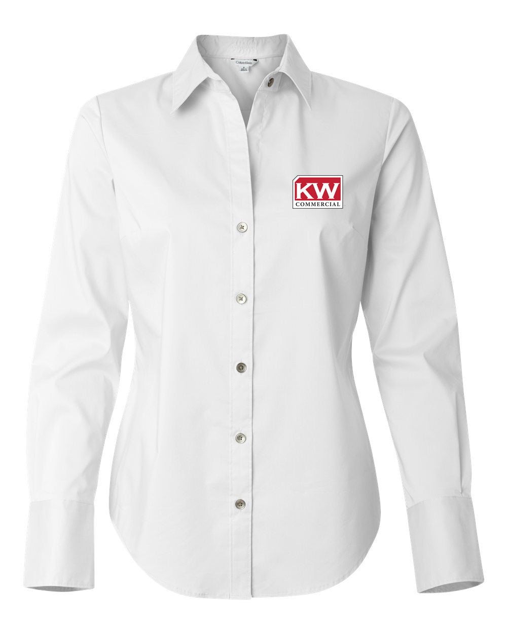 white long sleeve button down with red and grey Keller Williams logo