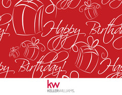 KW Happy Birthday Card - Red (With Envelope)