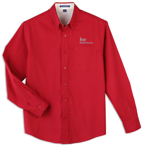 red long sleeve button down shirt with white Keller Williams logo in embroidery