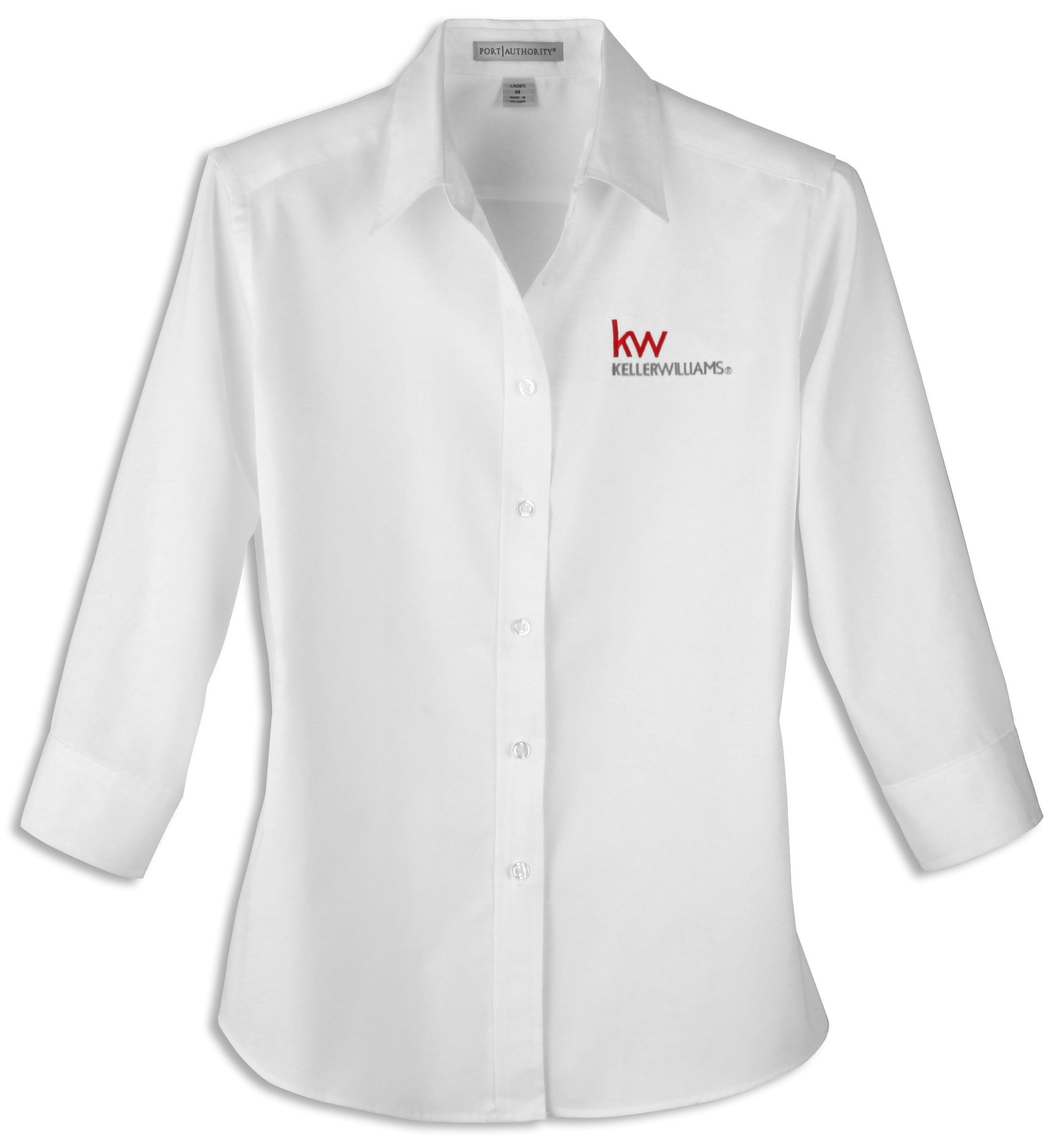 white 3/4-sleeve button up shirt with red and grey Keller Williams logo